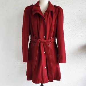 Calvin Klein Burgundy Red Wool Pea Coat Sz XL